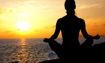 meditation sitting pose with sun set